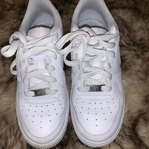 All white nike low top Air Force ones